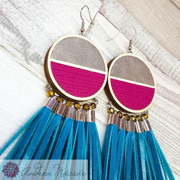 a21ddff86543 Arany-pink-türkiz vaágny csajos statement bőr fülbevaló