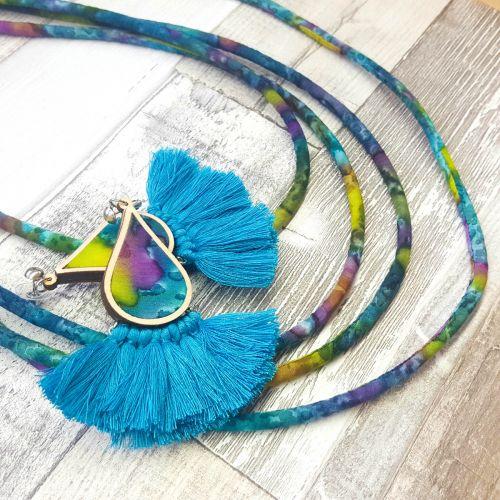 Türkiz foltos ékszerszett - nyaklánc és fülbevaló