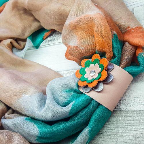 Körkendő valódi bőrből készült, kombinálható dísszel -  ...ha akarod karkötő - türkiz, ezüst, narancs