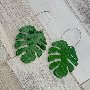 MONSTERA DELICIOSA - bőr leveles fülbevaló -  zöld