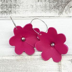Pink bőr virág fülbevaló