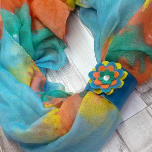 Körkendő bőr virágos dísszel - citromsárga, narancssárga, türkiz, zöld