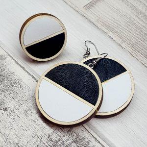 Fekete-fehér bőr fülbevaló és gyűrű