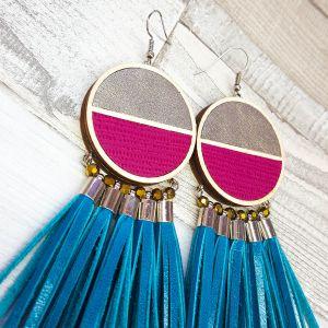 Arany-pink-türkiz vaágny csajos statement bőr fülbevaló