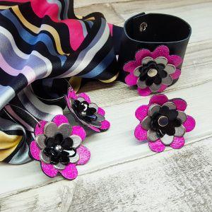 Bőr virágos ékszerszett ajándék selyemkendővel - fülbevaló, gyűrű, karkötő