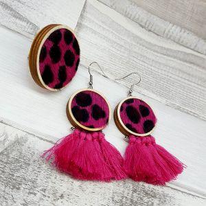 Pink-fekete leopárd mintás ékszerszett - fülbevaló és gyűrű