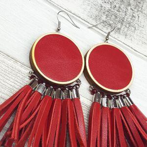 Piros rojtos bőr fülbevaló