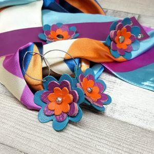 Bőr virágos ékszerszett AJÁNDÉK selyemkendővel - narancs, lila, türkiz