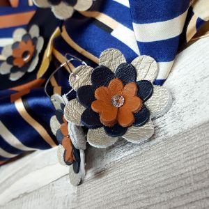 Bőr virágos ékszerszett AJÁNDÉK selyemkendővel - arany, navy, barna