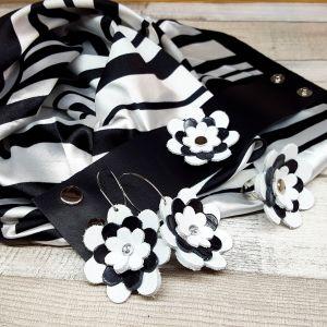 Bőr virágos ékszerszett AJÁNDÉK selyemkendővel - fekete és fehér