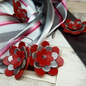 Bőr virágos ékszerszett AJÁNDÉK selyemkendővel - piros ezüst
