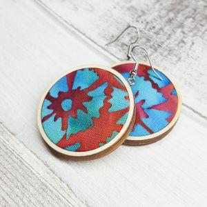Búzavirágos fülbevaló - kézzel festett textillel