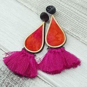 Narancs/pink foltos csepp fülbevaló rojtokkal