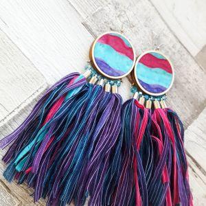 Türkiz, pink, lila brutál statement fülbevaló csodás színekkel