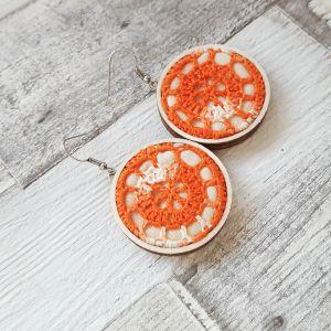 Narancssárga színátmenetes horgolt fülbevaló