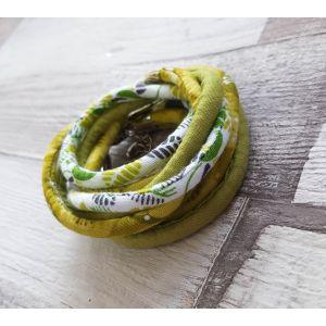 Zöld/fehér mintás nyaklánc-karkötő