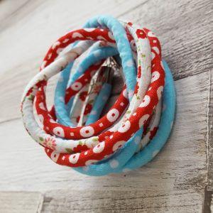 Piros, kék, pöttyös , fehér virágos - nyaklánc-karkötő