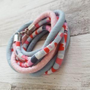 Téglamintás, pöttyös, kék - nyaklánc-karkötő