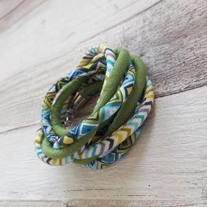 Zöld, fehér, kék nyaklánc-karkötő