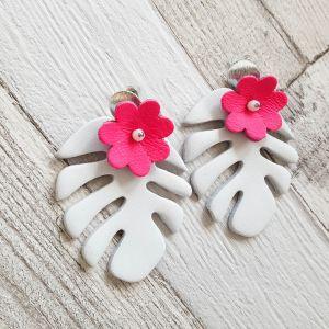 Monstera virággal - valódibőr ékszer - fehér, pink
