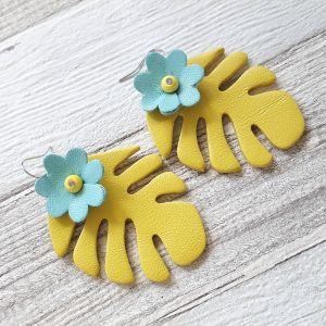 Monstera virággal - valódibőr ékszer - sárga, türkiz