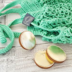 Cekker passzoló fülbevalóval, ajándék gyűrűvel - mentazöld