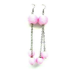Rózsaszín láncos fülbevaló 3 golyóval