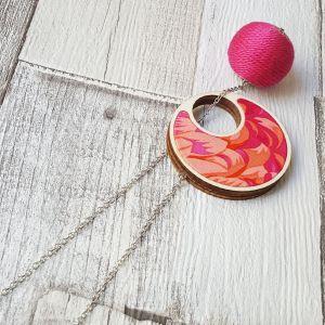 Átbújtatós nyaklánc narancs pink tűz