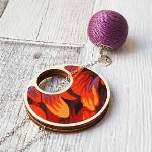 Átbújtatós nyaklánc tűz lila golyóval