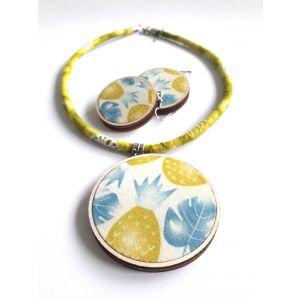 Ananász mintás ékszerszett - nyaklánc és fülbevaló
