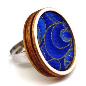 Arany kontúros, kék mintás textil - design gyűrű