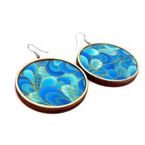 Arany kontúros, kék mintás textil - design fülbevaló