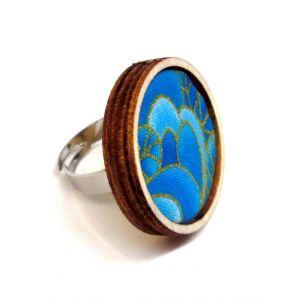 Tenger - Arany kontúros, kék mintás textil - design gyűrű
