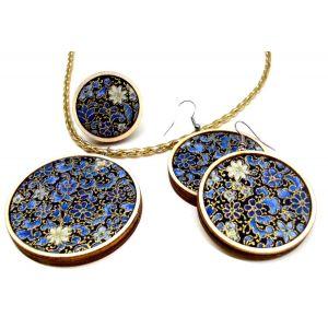 Arany kontúros, kék mintás textil - design ékszer szett - nyaklánc, fülbevaló, gyűrű