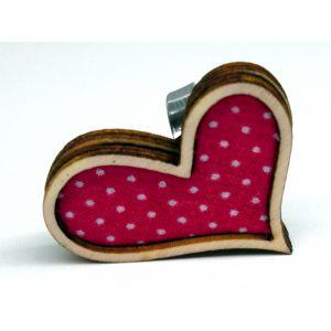 Rózsaszín alapon pöttyös szívgyűrű