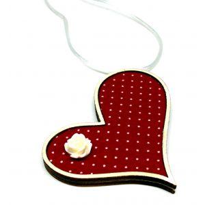 Ferde szív nyaklánc piros-fehér pöttyös textillel és akril virágdekorációval