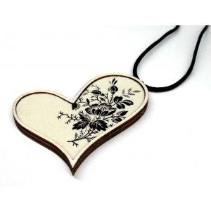 Ferde szív nyaklánc fekete-fehér rózsás textillel