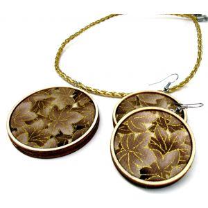 Barna-arany színű virágos fülbevaló és medál szett