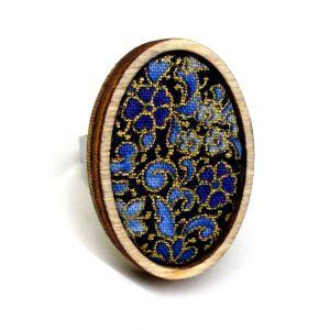 Design gyűrű arany kontúros textillel, kék