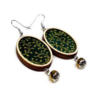 Aranyág zöld - design fülbevaló