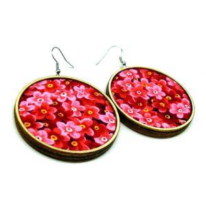 Pink virágos fülbevaló - 3, 4, 5 vagy 6 cm-es méretben