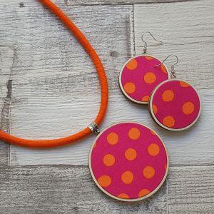 Narancs, pink pöttyös classic ékszerszett nyaklánc és fülbevaló