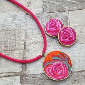 Narancs, pink rózsa classic ékszerszett nyaklánc és fülbevaló