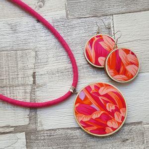 Pink narancs tűz classic ékszerszett nyaklánc és fülbevaló