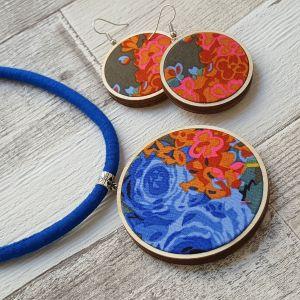 Kék, narancs, pink virágos classic ékszerszett nyaklánc és fülbevaló