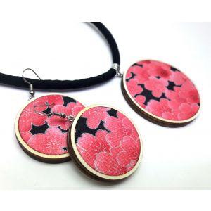 Sakura mintás ékszerszett - nyaklánc és fülbevaló