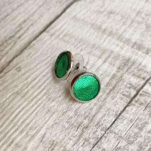 Csillogó zöld pötty Kitti fülbevaló valódi bőrből