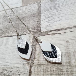 Fekete-fehér-ezüst bőr levél kombinálható nyaklánc