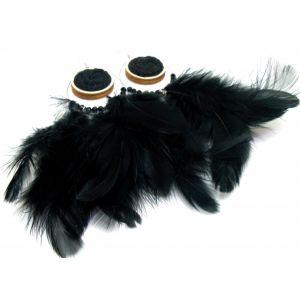 Fekete tollas fülbevaló