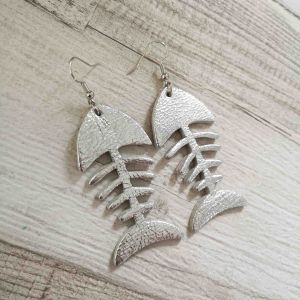 Fishbone ezüst színű fülbevaló
